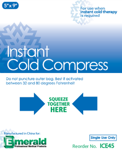 "Instant Cold Compress Ice Pack 5"" x 9"" 24/cs. - Emerald"